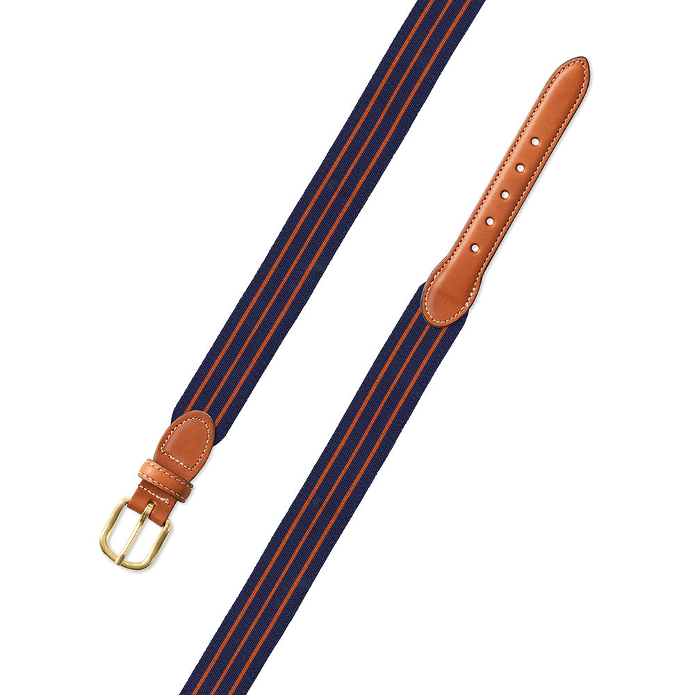 Navy & Thin Orange Stripe Grosgrain Ribbon Leather Tab Belt