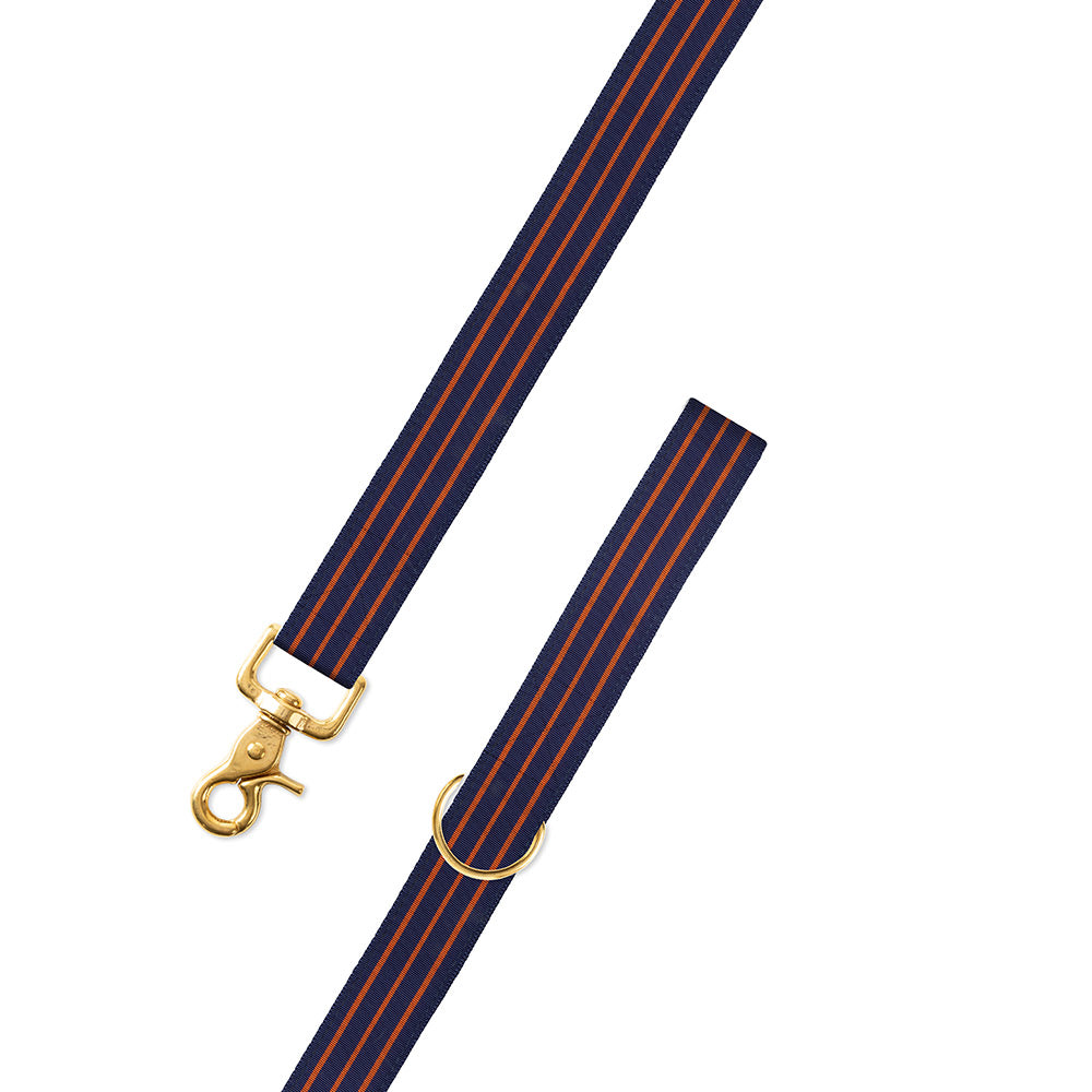 Navy & Thin Orange Stripe Grosgrain Ribbon Dog Leash