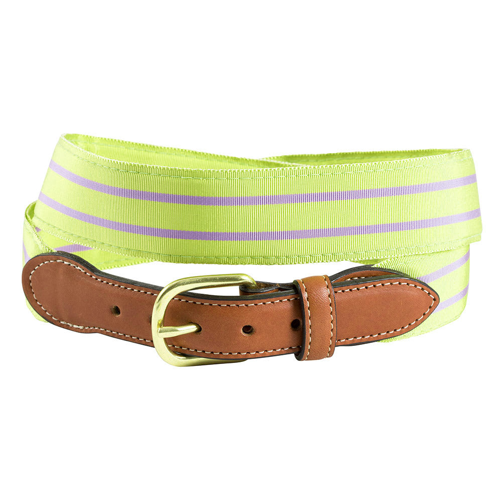 Grass Green & Lavender Grosgrain Ribbon Leather Tab Belt