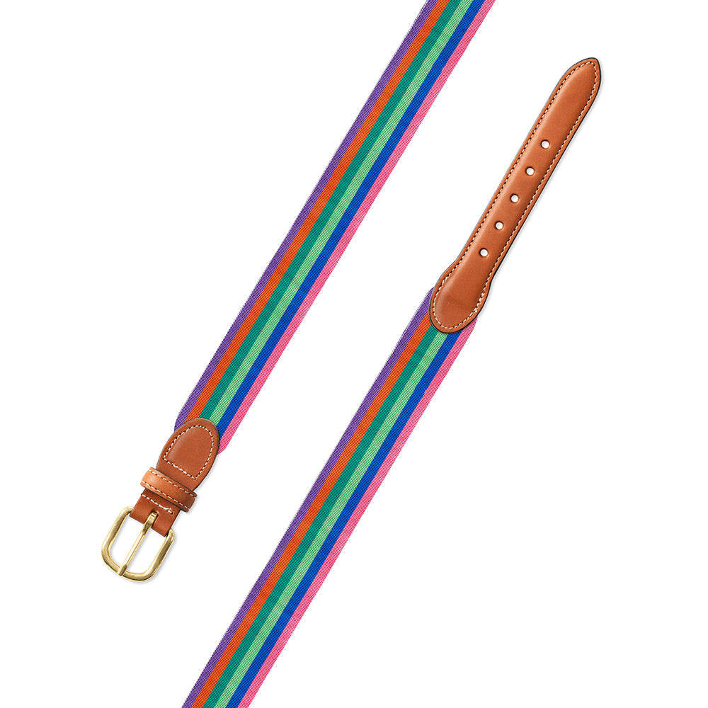 Multicolored Grosgrain Ribbon Leather Tab Belt