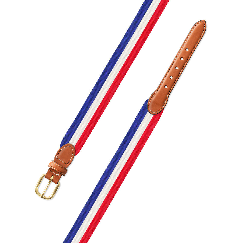 Red, White & Blue Grosgrain Ribbon Leather Tab Belt