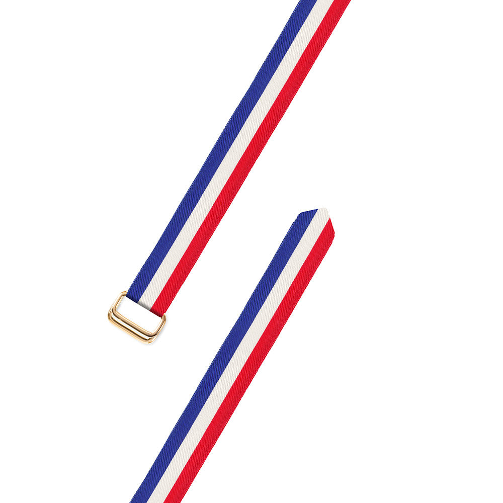 Red, White & Blue Grosgrain Ribbon D-Ring Belt