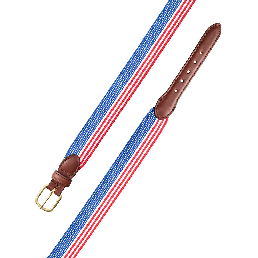 Flag Pattern Grosgrain Ribbon Leather Tab Belt