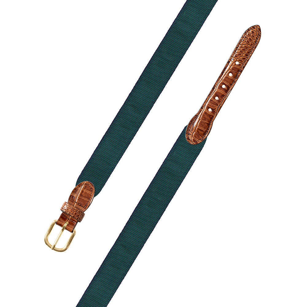 Green & Navy Grosgrain Ribbon Leather Tab Belt