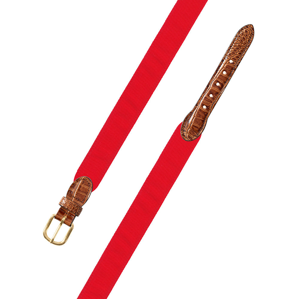 Red Grosgrain Ribbon Leather Tab Belt