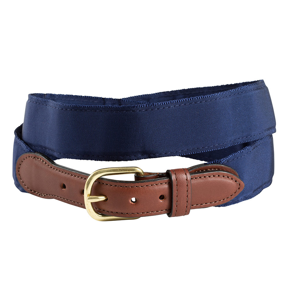 Navy Grosgrain Ribbon Leather Tab Belt