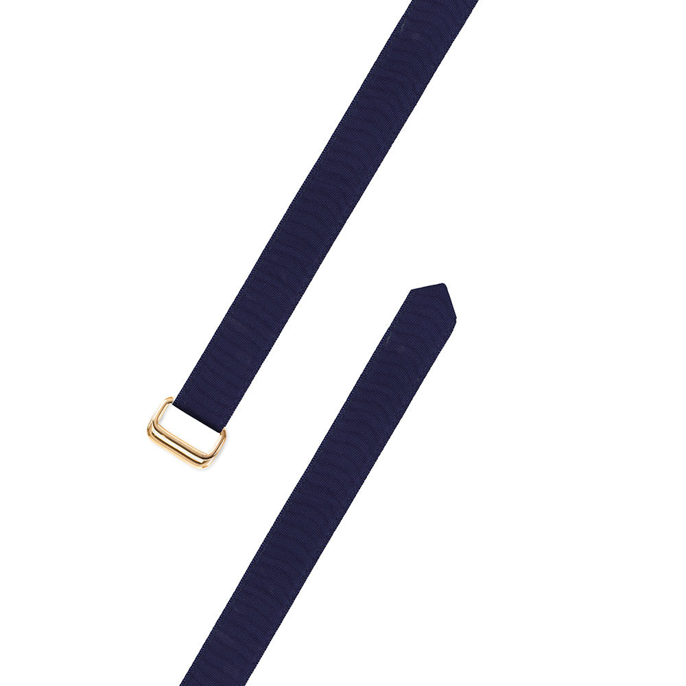 Navy Grosgrain Ribbon D-Ring Belt