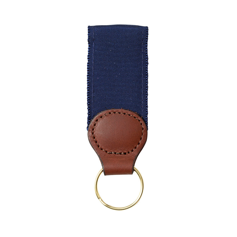 Navy Grosgrain Ribbon Key Fob