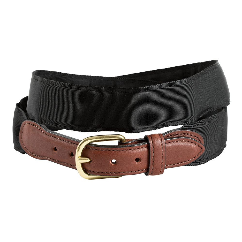 Black Grosgrain Ribbon Leather Tab Belt