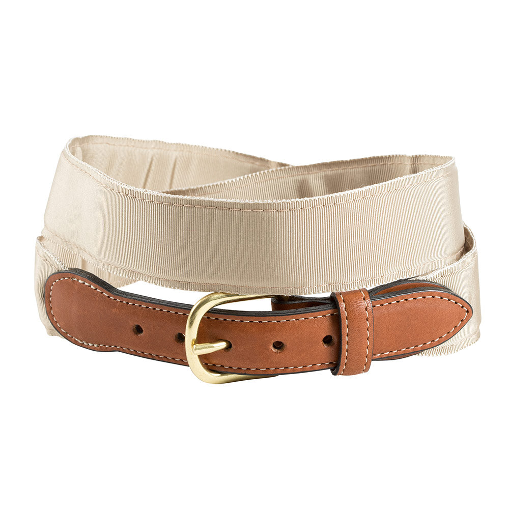 Tan Grosgrain Ribbon Leather Tab Belt