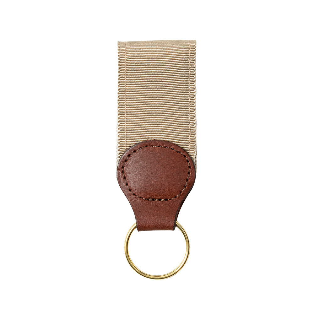 Tan Grosgrain Ribbon Key Fob
