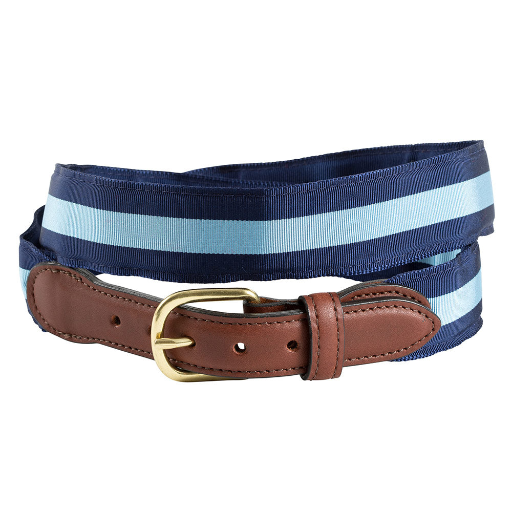 Navy & Light Blue Grosgrain Ribbon Leather Tab Belt