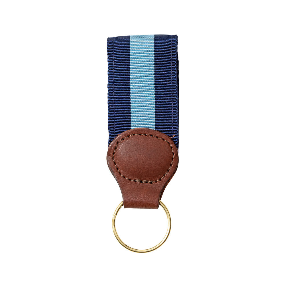 Navy & Light Blue Grosgrain Ribbon Key Fob