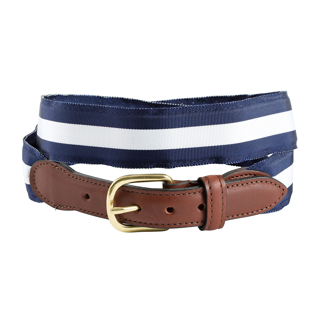 White on Navy Grosgrain Ribbon Children's Belt