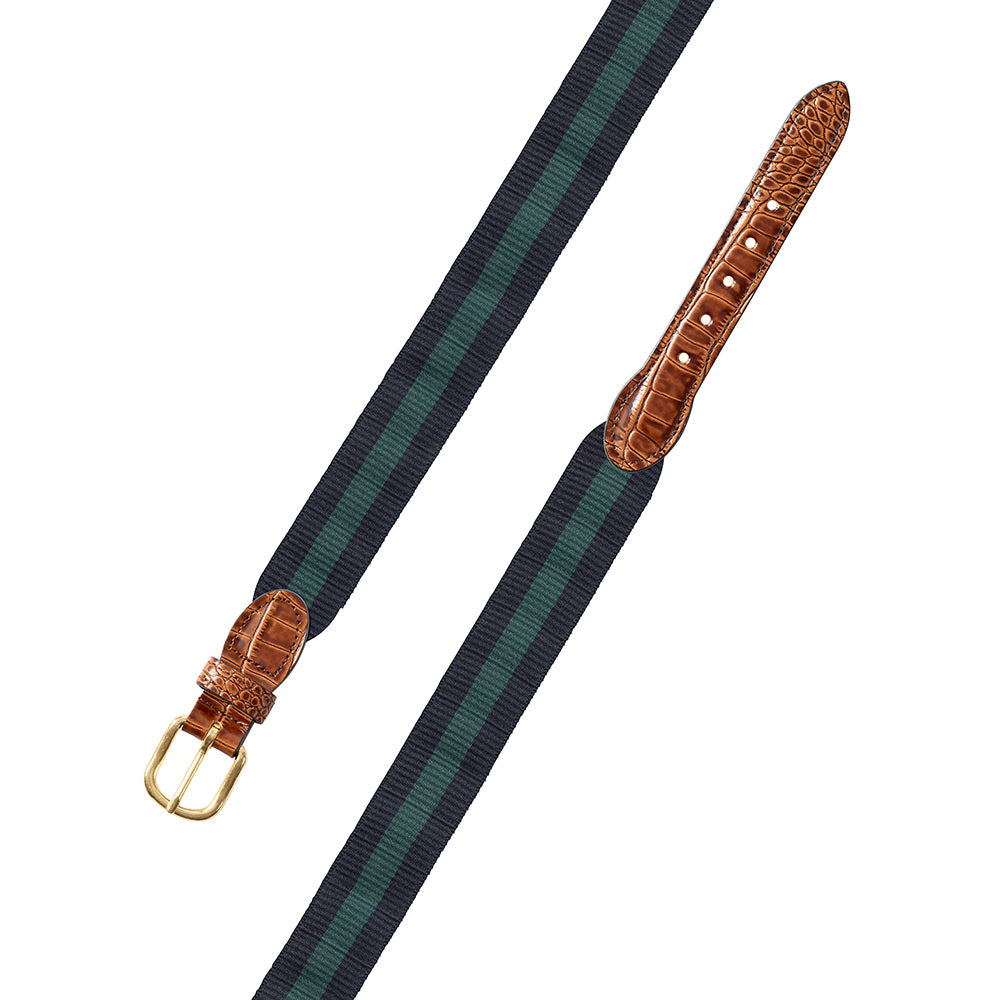 Navy & Green Wide Belgian Surcingle Leather Tab Belt