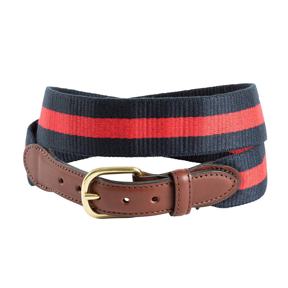 Red on Navy Wide Belgian Surcingle Leather Tab Belt