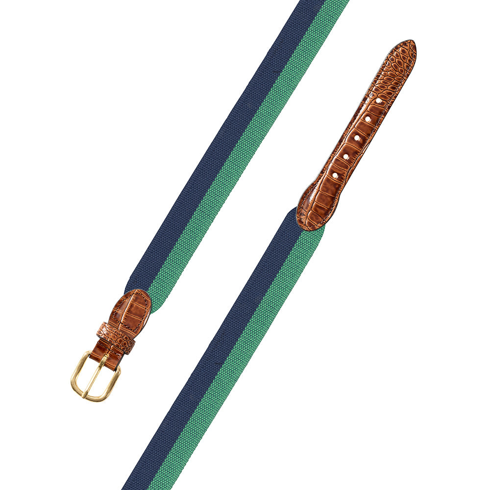 Blue & Green Wide Belgian Surcingle Leather Tab Belt