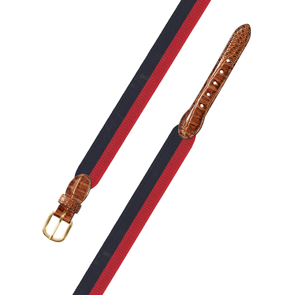 Navy & Red Wide Belgian Surcingle Leather Tab Belt