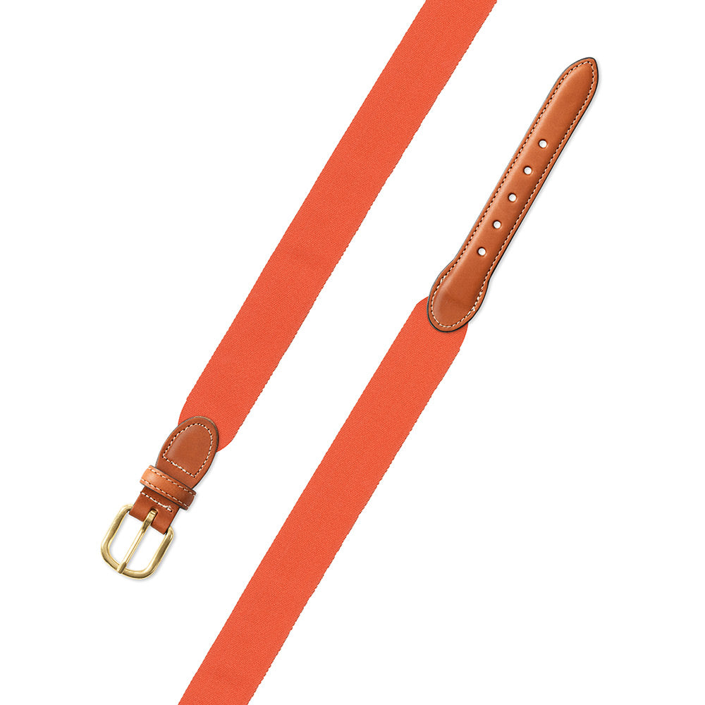 Orange Wide Belgian Surcingle Leather Tab Belt