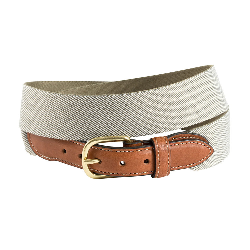 Dark Khaki & Natural Wide Belgian Surcingle Leather Tab Belt