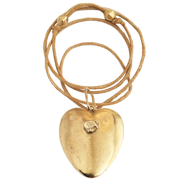 Apis ancient bronze cast Gold Nugget Heart on leather with bronze beads