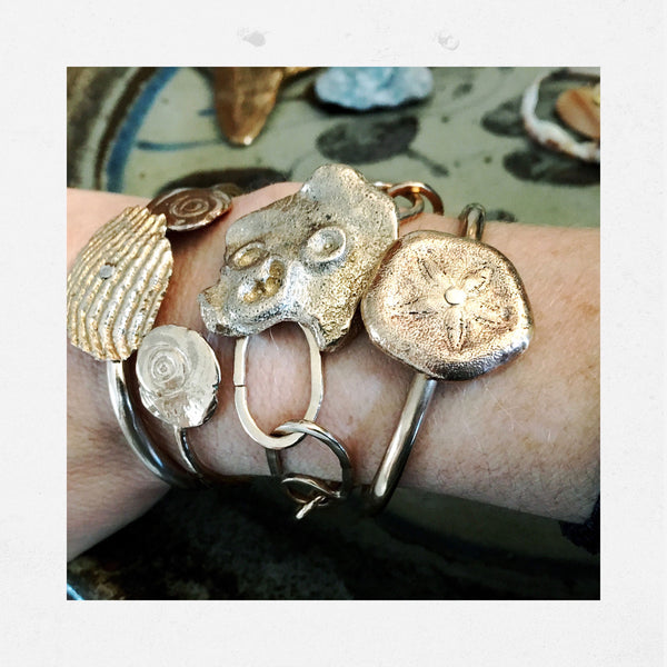 Apis ancient bronze handmade Aristotle's Lantern Cuff with Sand Dollar