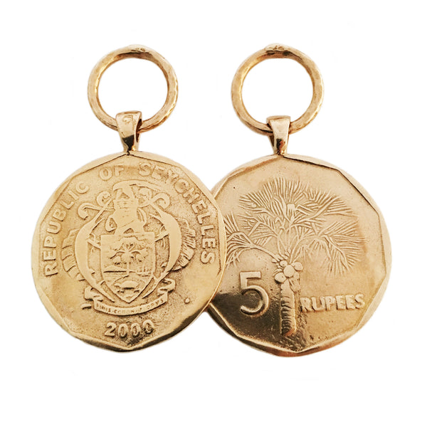 Apis ancient bronze handmade Coco de Mer Earrings with Seychellois Rupee Coin