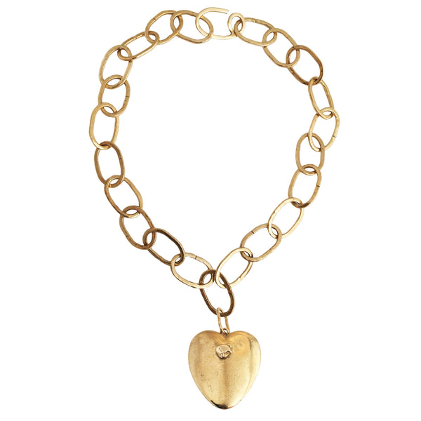 Apis ancient bronze handmade light chain necklace with Yukon Gold Nugget Heart