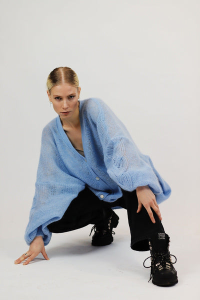OCEAN BLUE MOHAIR AND SILK CARDIGAN for lovers and trees 40203271175
