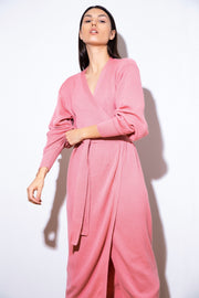 HOT PINK MERINO WOOL WRAP DRESS forloversandtrees.com