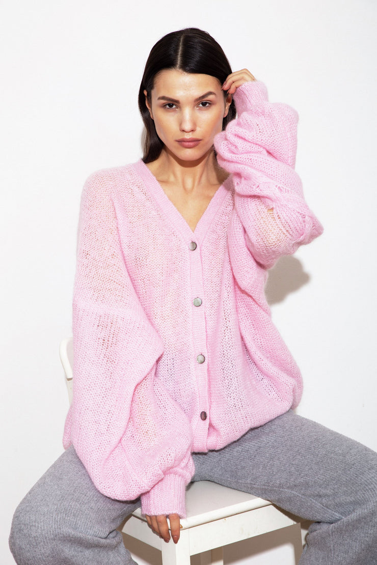 HOT PINK MOHAIR AND SILK CARDIGAN for lovers and trees