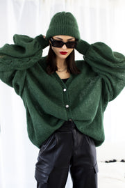 FOREST GREEN MOHAIR AND SILK CARDIGAN for lovers and trees