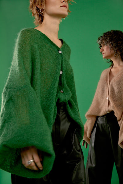 MOSS GREEN MOHAIR AND SILK CARDIGAN for lovers and trees, 40203271175