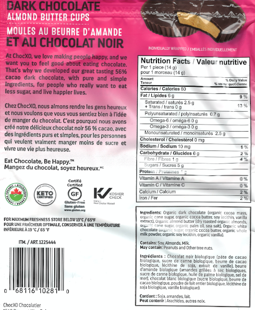Organic Dark Chocolate Keto Almond Butter Cups Nutritional Information