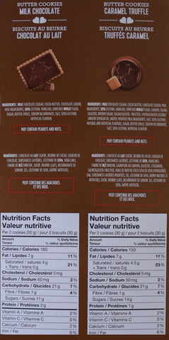 Milk chocolate and caramel truffle Cookies Nutritional Information