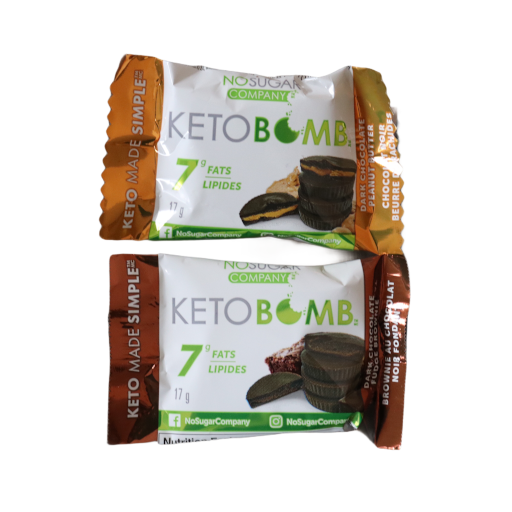 Dark chocolate peanut butter & dark chocolate fudge brownie Keto Chocolate Bomb from Boxesat Keto Snack Box