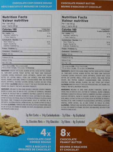 Chocolate chip cookie dough and chocolate peanut keto bars nutritional information