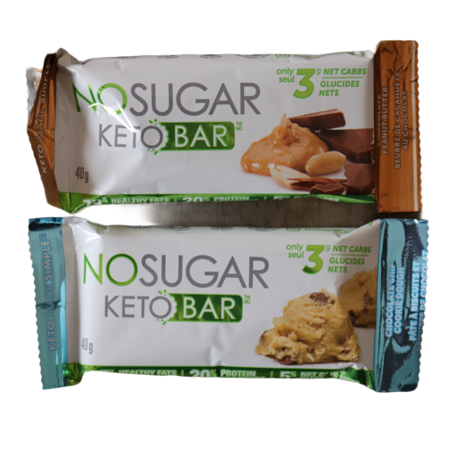 Cookie dough and chocolate peanut butter keto bars from the boxesat keto box