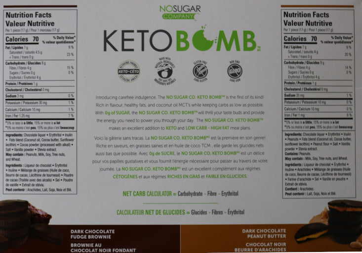 Dark chocolate peanut butter & dark chocolate fudge brownie Keto Chocolate Bomb 2 Piece Nutritional Information