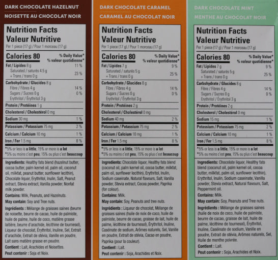 Dark chocolate hazelnut & dark chocolate caramel & dark chocolate mint Keto Bombs Nutritional Information