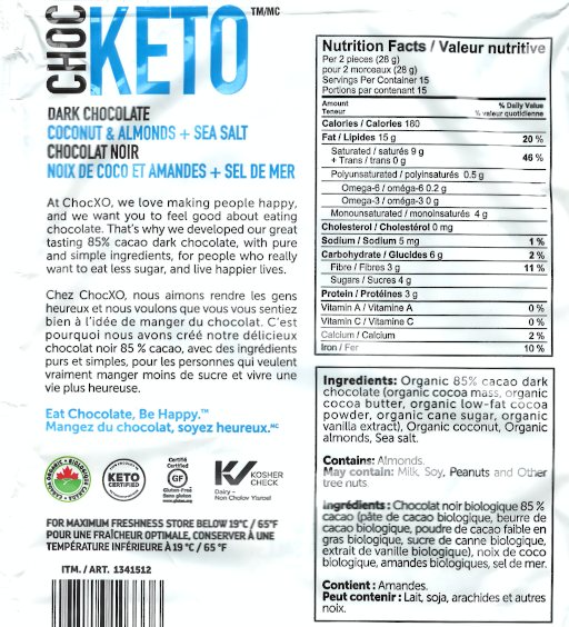 Dark Chocolate Coconut and Almond keto Snaps Nutritional Information