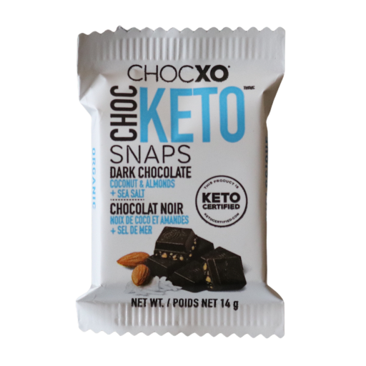Dark Chocolate Coconut and Almond keto snaps from Boxesat keto snack box