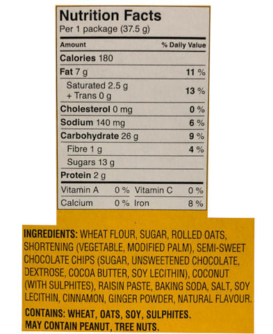 Dad's oatmeal cookies nutritional information