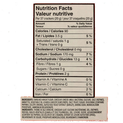 Golfish crackers nutritional information