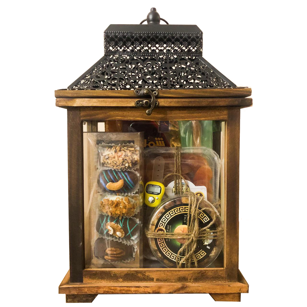 A luxurious lantern from baskets containing chocolate covered dates, dried fruits, mistake and coffee