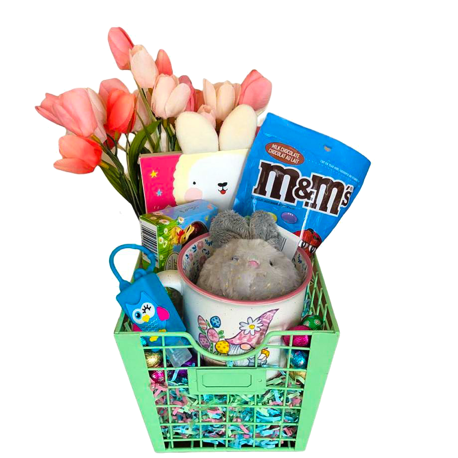 A picture of a green basket containing Easter gifts from Basketsat by Boxesat