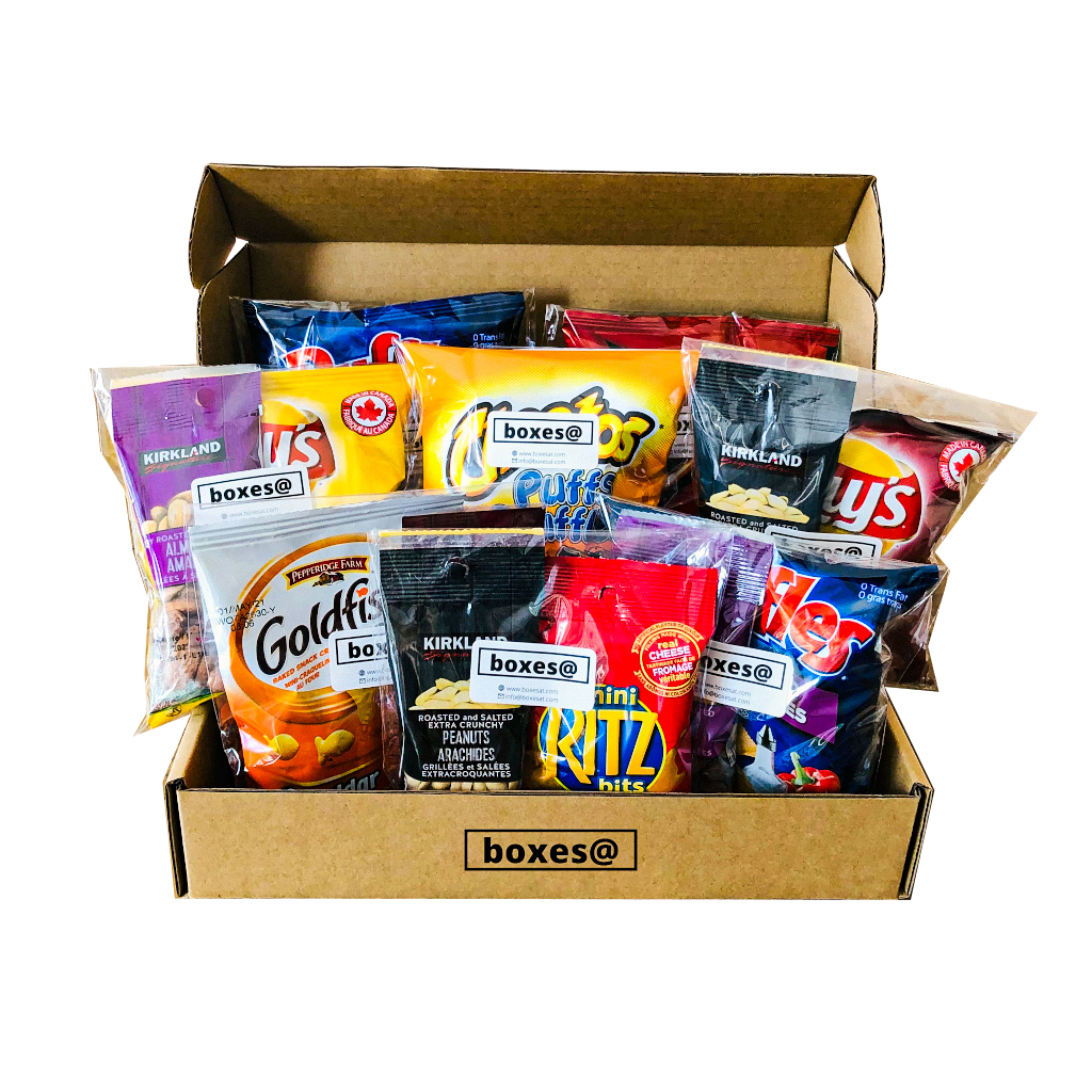 Boxesat salty snack box containing a variety of nuts, cheese crackers & chips