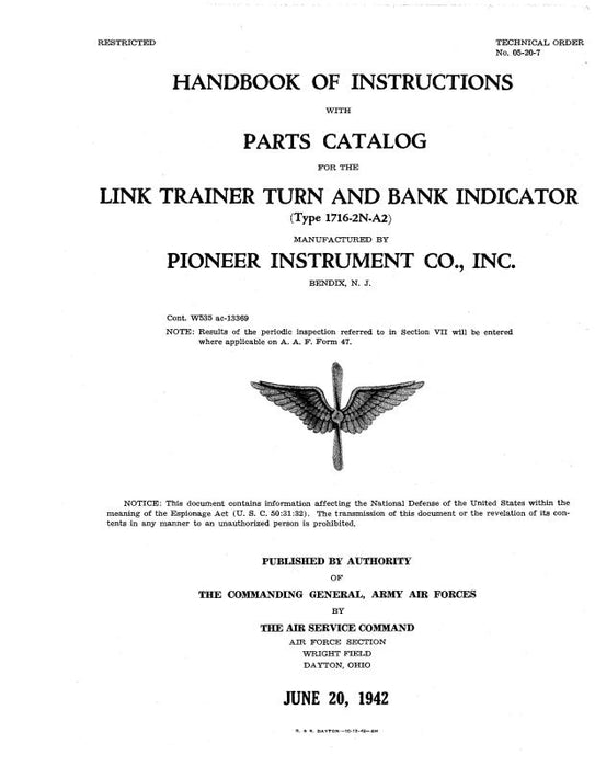 Link Trainers Type 1716-2N-A2 1942 Handbook Of Instructions With Parts Catalog (5/20/2007)