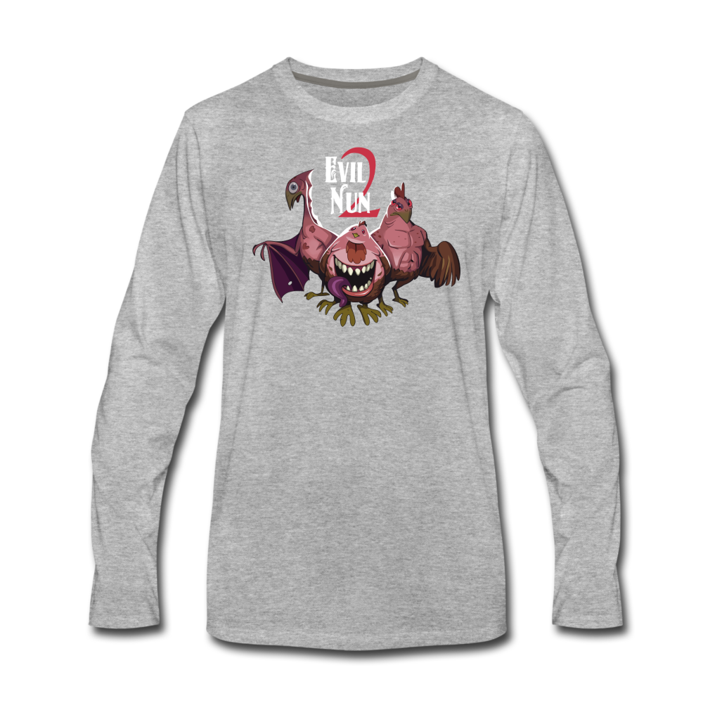 Evil Nun Mutant Chickens Long-Sleeve T-Shirts (Mens) - heather gray