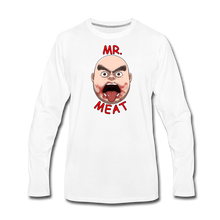 Load image into Gallery viewer, Mr. Meat Meathead Long-Sleeve T-Shirt (Mens) - white